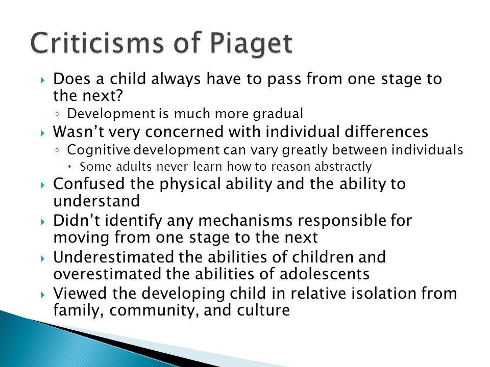  Does a child always have to pass from one stage to the next.