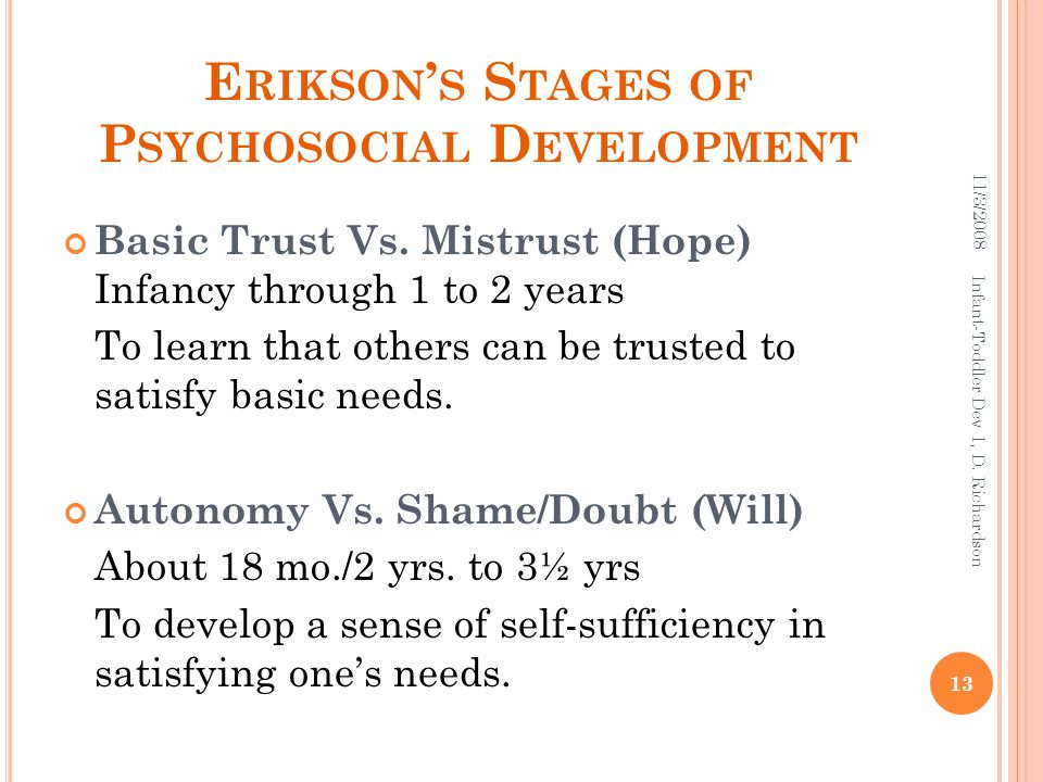 E RIKSON ' S S TAGES OF P SYCHOSOCIAL D EVELOPMENT Basic Trust Vs. Mistrust (Hope) Infancy through 1 to 2 years To learn that others can be trusted to