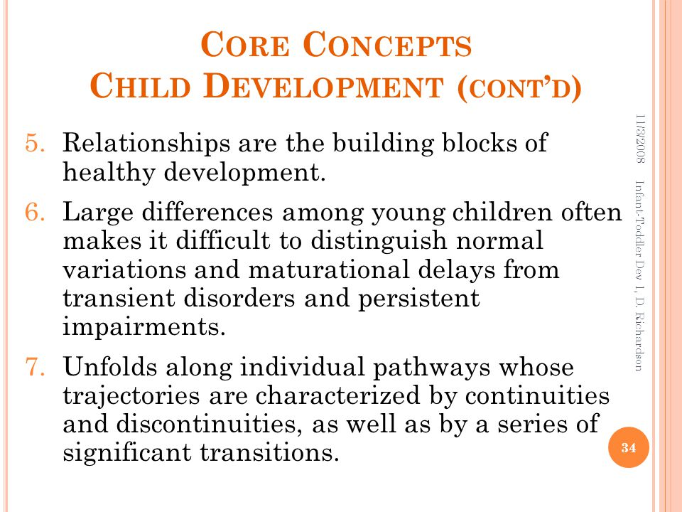 C ORE C ONCEPTS C HILD D EVELOPMENT ( CONT ' D ) 5.Relationships are the building blocks of healthy development.