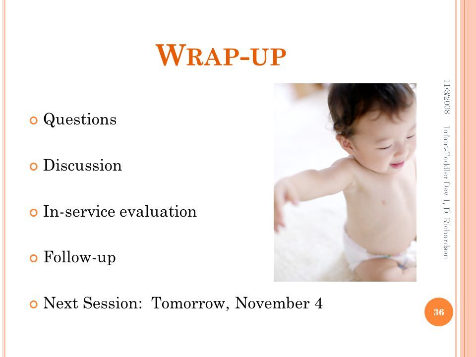 W RAP - UP Questions Discussion In-service evaluation Follow-up Next Session: Tomorrow, November 4 11/3/2008 36 Infant-Toddler Dev 1, D. Richardson