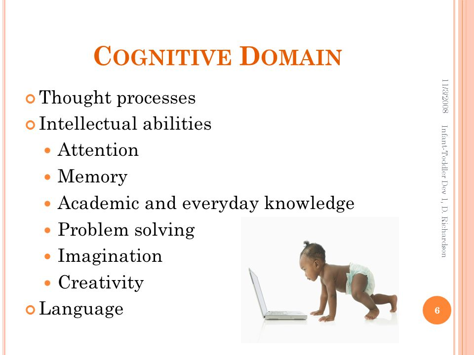C OGNITIVE D OMAIN Thought processes Intellectual abilities Attention Memory Academic and everyday knowledge Problem solving Imagination Creativity La