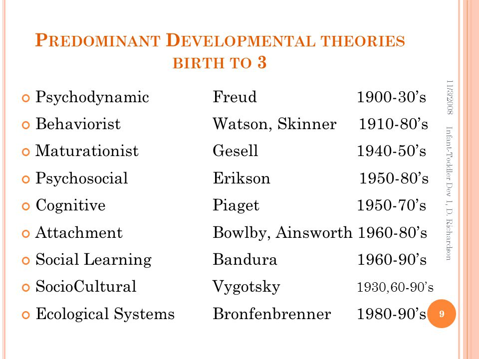 P REDOMINANT D EVELOPMENTAL THEORIES BIRTH TO 3 Psychodynamic Freud 1900-30's Behaviorist Watson, Skinner 1910-80's Maturationist Gesell 1940-50's Psy
