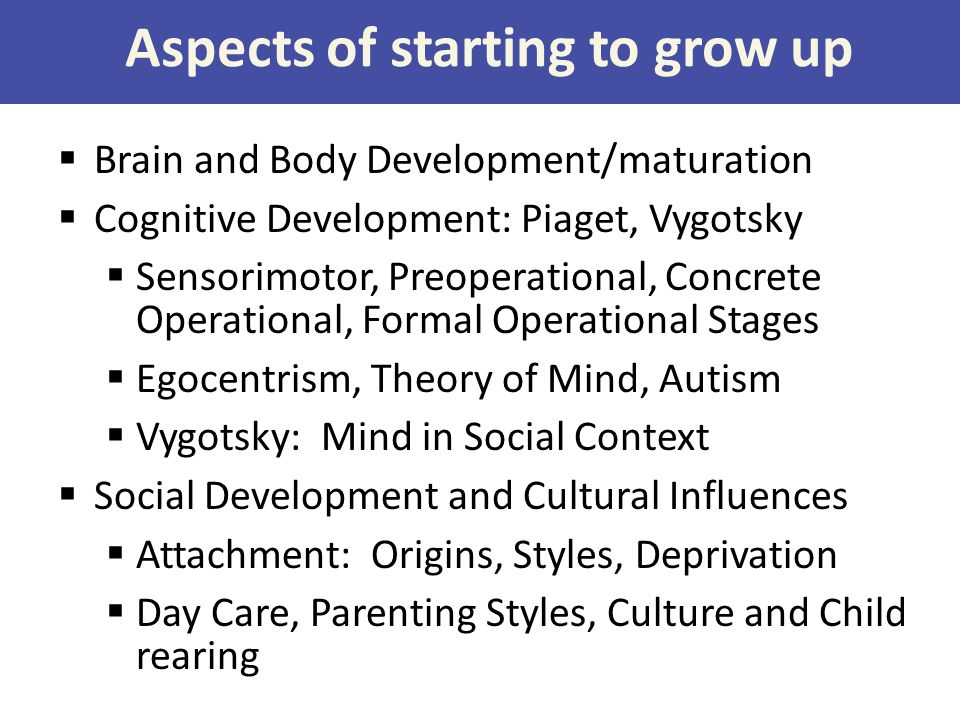 Aspects of starting to grow up  Brain and Body Development/maturation  Cognitive Development: Piaget, Vygotsky  Sensorimotor, Preoperational, Concr
