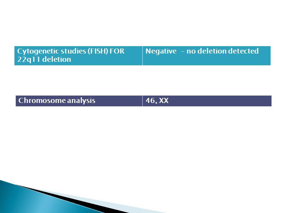 Cytogenetic studies (FISH) FOR 22q11 deletion Negative - no deletion detected Chromosome analysis46, XX