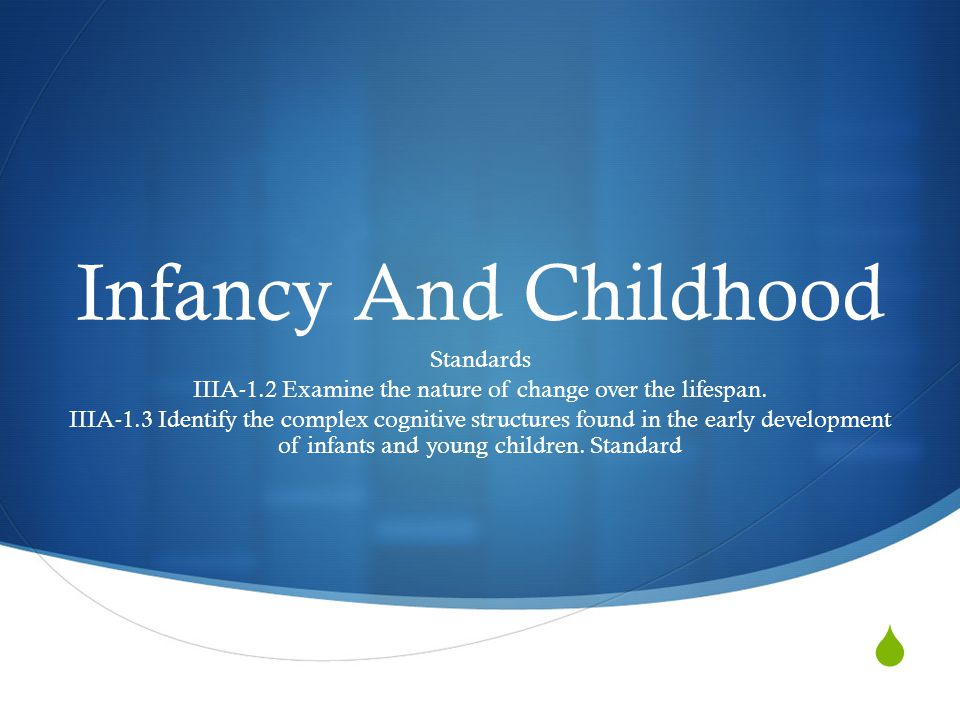  Infancy And Childhood Standards IIIA-1.2 Examine the nature of change over the lifespan. IIIA-1.3 Identify the complex cognitive structures found in