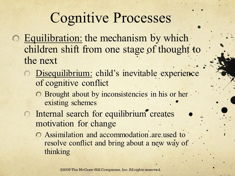Cognitive Processes According to Piaget, individuals go through four stages of development Cognition is qualitatively different from one stage to another Sensorimotor Stage: infant cognitive development lasting from birth to 2 years Infants understand the world through their sensory experiences http://www.youtube.com/watch?v=ue8y- JVhjS0 ©2009 The McGraw-Hill Companies, Inc.