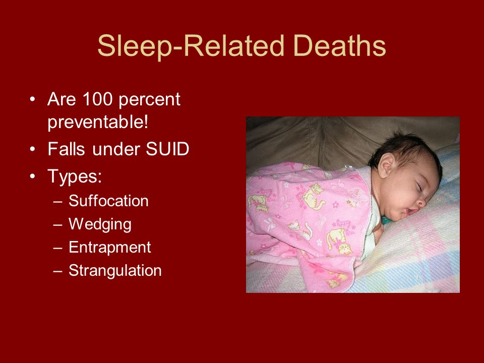 Sleep-Related Deaths Are 100 percent preventable! Falls under SUID Types: –Suffocation –Wedging –Entrapment –Strangulation