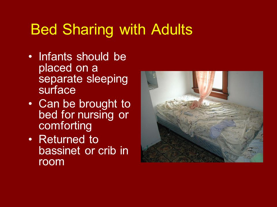 Bed Sharing with Adults Infants should be placed on a separate sleeping surface Can be brought to bed for nursing or comforting Returned to bassinet o