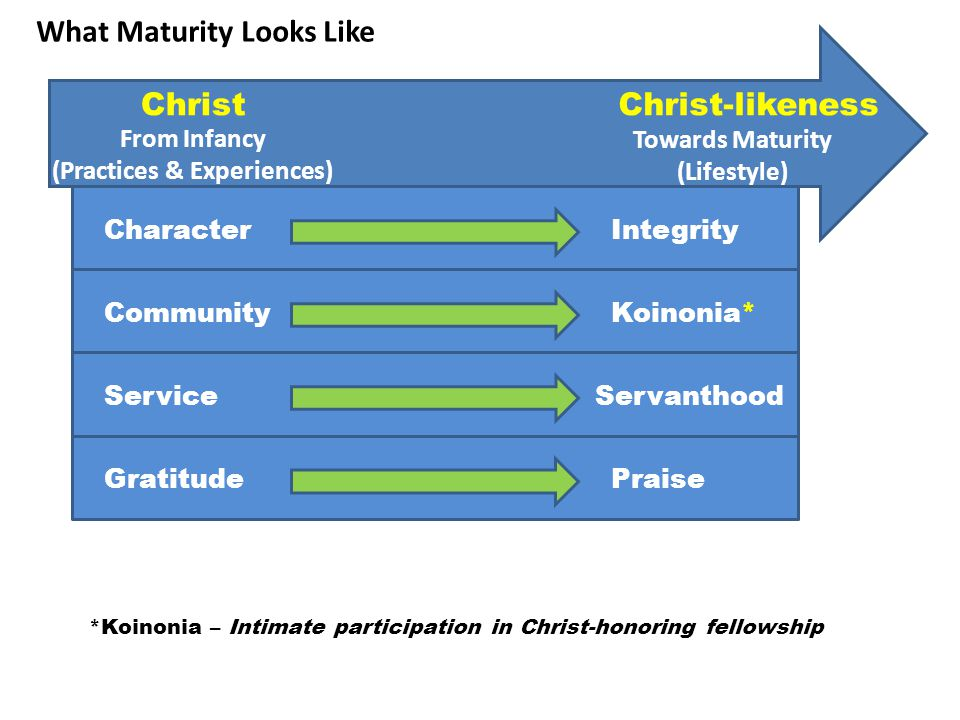 ChristChrist-likeness From Infancy (Practices & Experiences) Towards Maturity (Lifestyle) CharacterIntegrity Community ServiceServanthood Gratitude *Koinonia – Intimate participation in Christ-honoring fellowship Koinonia* What Maturity Looks Like Praise