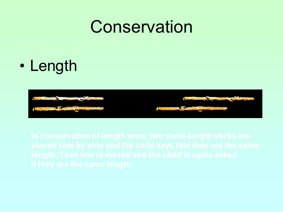 Conservation Length In conservation of length tests, two same-length sticks are placed side by side and the child says that they are the same length.