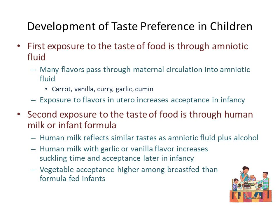 Development of Taste Preference in Children First exposure to the taste of food is through amniotic fluid – Many flavors pass through maternal circulation into amniotic fluid Carrot, vanilla, curry, garlic, cumin – Exposure to flavors in utero increases acceptance in infancy Second exposure to the taste of food is through human milk or infant formula – Human milk reflects similar tastes as amniotic fluid plus alcohol – Human milk with garlic or vanilla flavor increases suckling time and acceptance later in infancy – Vegetable acceptance higher among breastfed than formula fed infants