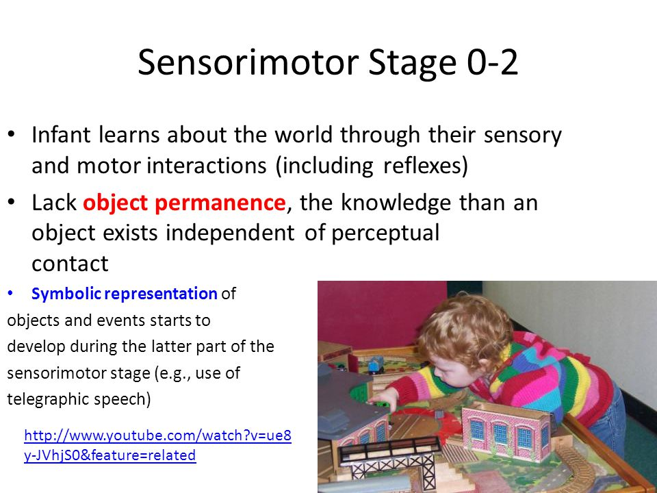 Sensorimotor Stage 0-2 Infant learns about the world through their sensory and motor interactions (including reflexes) Lack object permanence, the kno