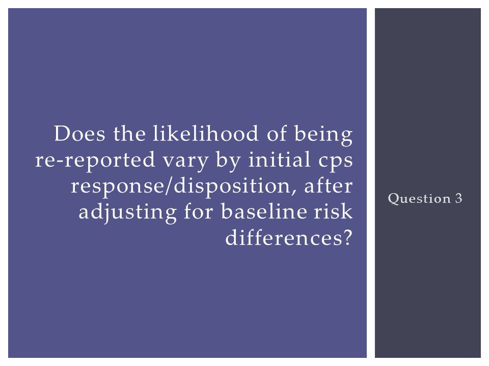 Question 3 Does the likelihood of being re-reported vary by initial cps response/disposition, after adjusting for baseline risk differences?
