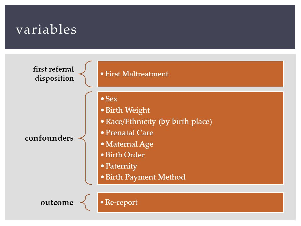 variables first referral disposition First Maltreatment confounders Sex Birth Weight Race/Ethnicity (by birth place) Prenatal Care Maternal Age Birth