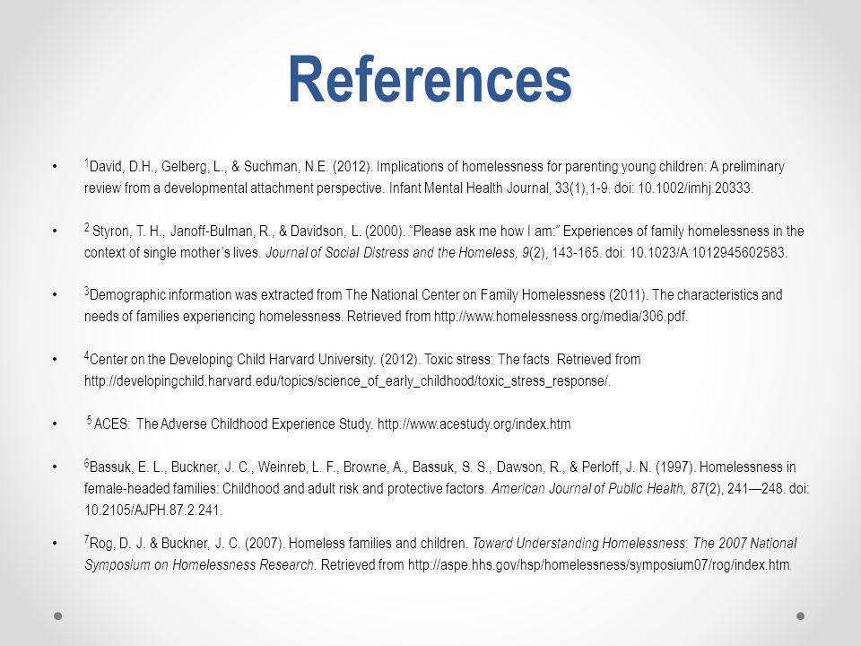References 1 David, D.H., Gelberg, L., & Suchman, N.E.