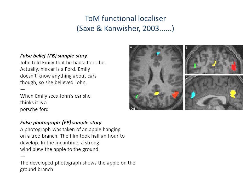 ToM functional localiser (Saxe & Kanwisher, 2003......) False belief (FB) sample story John told Emily that he had a Porsche.