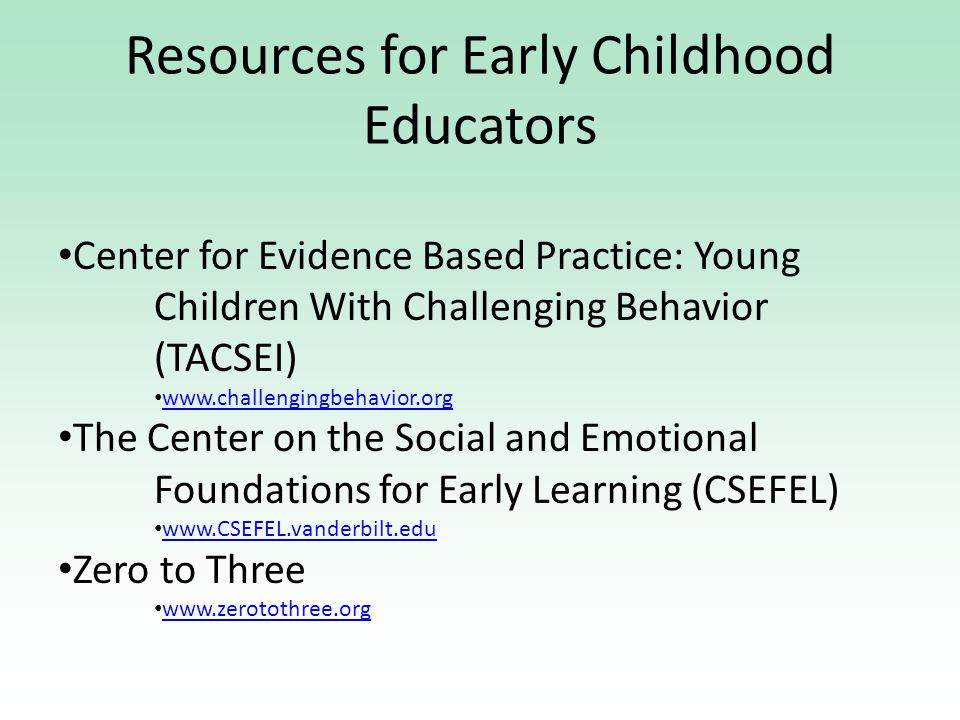 Resources for Early Childhood Educators Center for Evidence Based Practice: Young Children With Challenging Behavior (TACSEI) www.challengingbehavior.org The Center on the Social and Emotional Foundations for Early Learning (CSEFEL) www.CSEFEL.vanderbilt.edu Zero to Three www.zerotothree.org