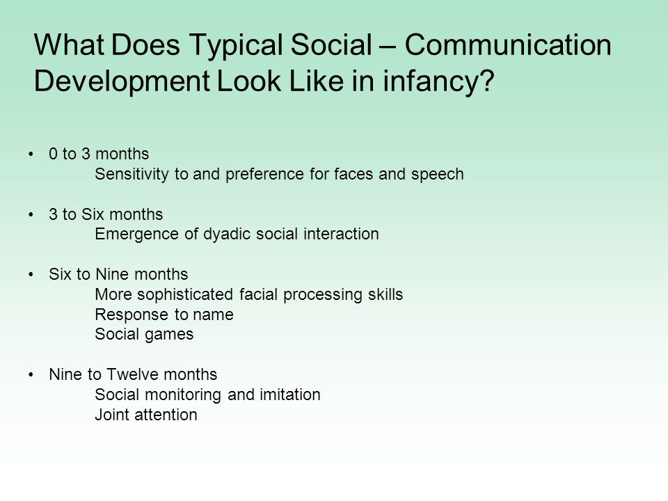 0 to 3 months Sensitivity to and preference for faces and speech 3 to Six months Emergence of dyadic social interaction Six to Nine months More sophisticated facial processing skills Response to name Social games Nine to Twelve months Social monitoring and imitation Joint attention What Does Typical Social – Communication Development Look Like in infancy?