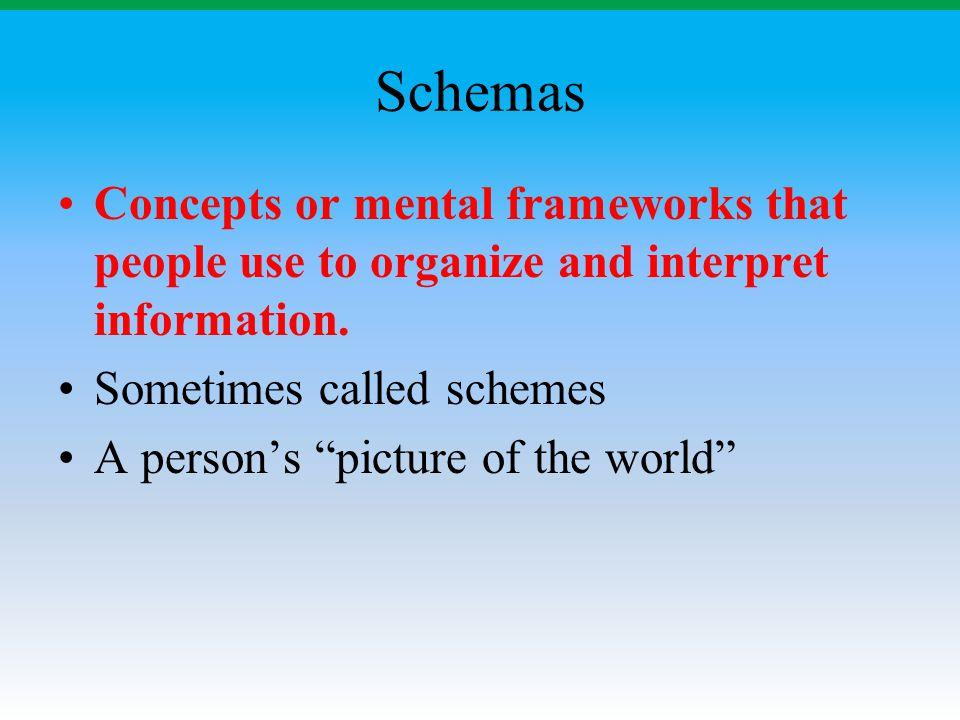 """Schemas Concepts or mental frameworks that people use to organize and interpret information. Sometimes called schemes A person's """"picture of the world"""