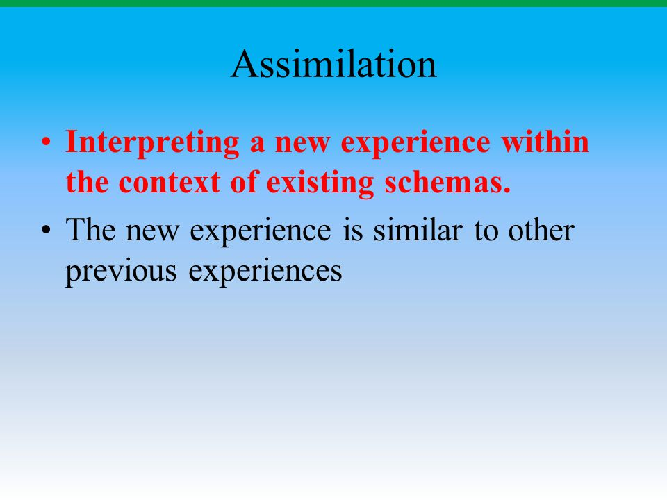 Assimilation Interpreting a new experience within the context of existing schemas. The new experience is similar to other previous experiences