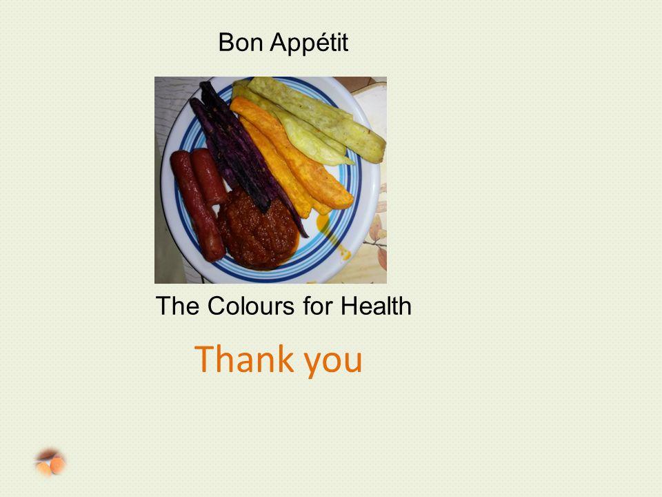 Thank you Bon Appétit The Colours for Health
