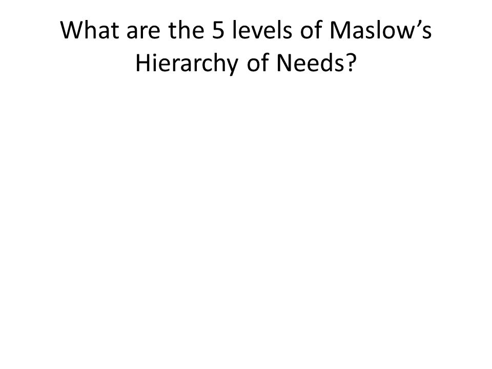 What are the 5 levels of Maslow's Hierarchy of Needs?