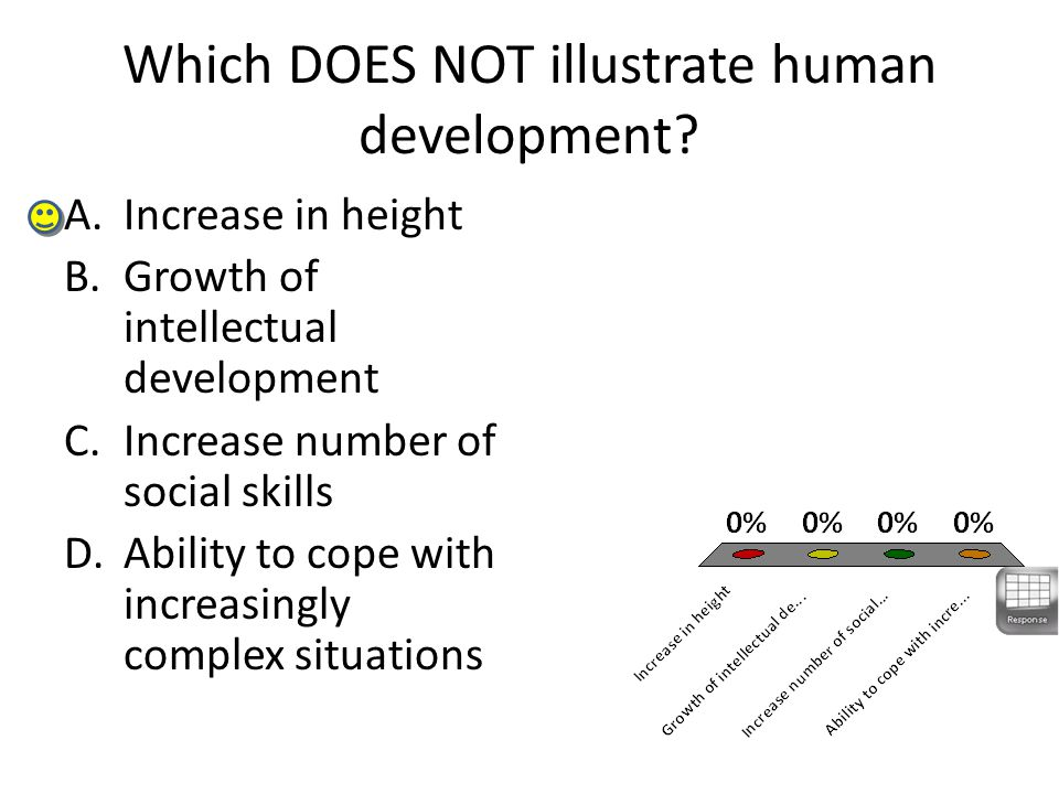 Which DOES NOT illustrate human development? A.Increase in height B.Growth of intellectual development C.Increase number of social skills D.Ability to