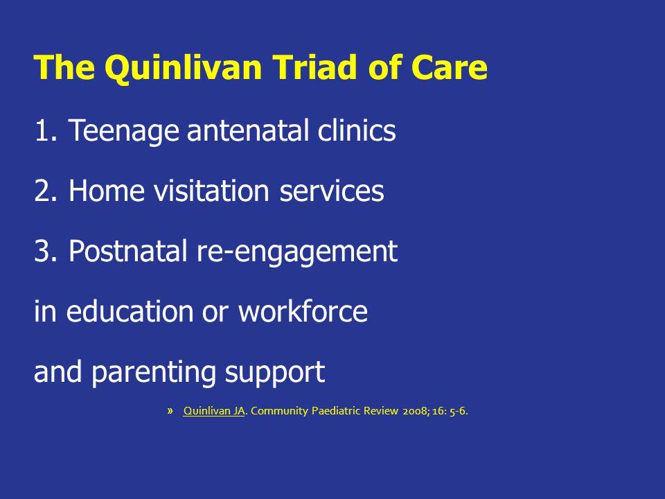 The Quinlivan Triad of Care 1. Teenage antenatal clinics 2.