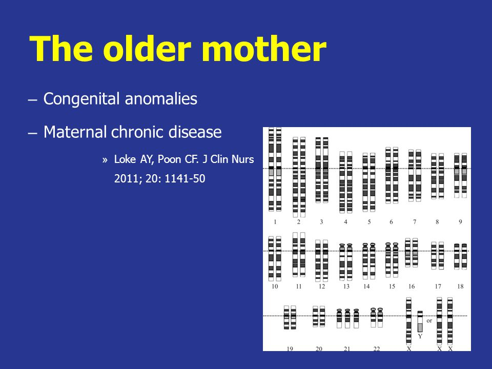 The older mother – Congenital anomalies – Maternal chronic disease » Loke AY, Poon CF.