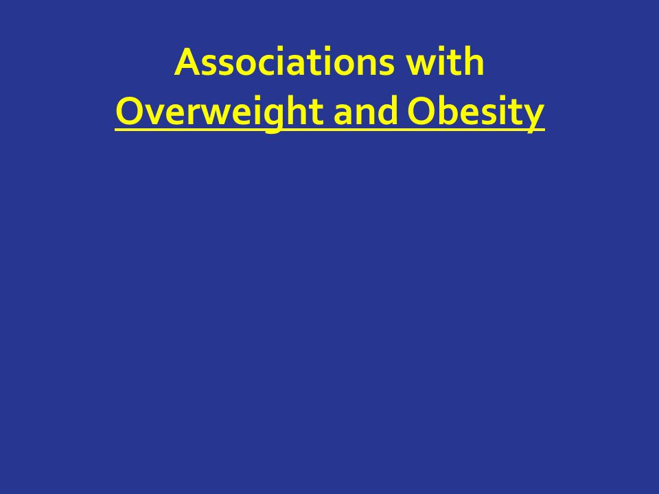 Associations with Overweight and Obesity