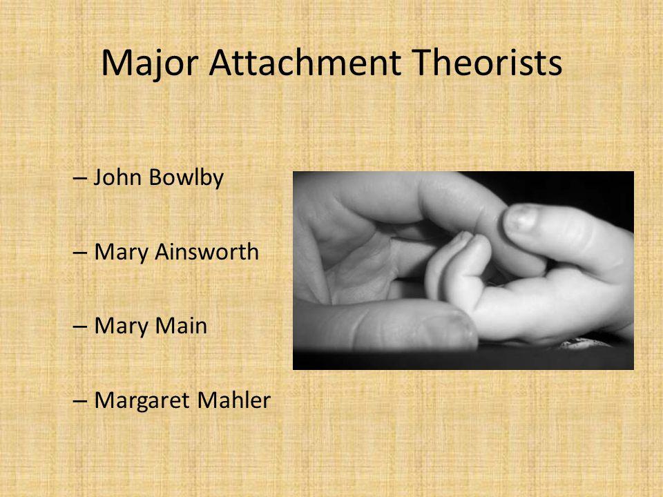 Major Attachment Theorists – John Bowlby – Mary Ainsworth – Mary Main – Margaret Mahler