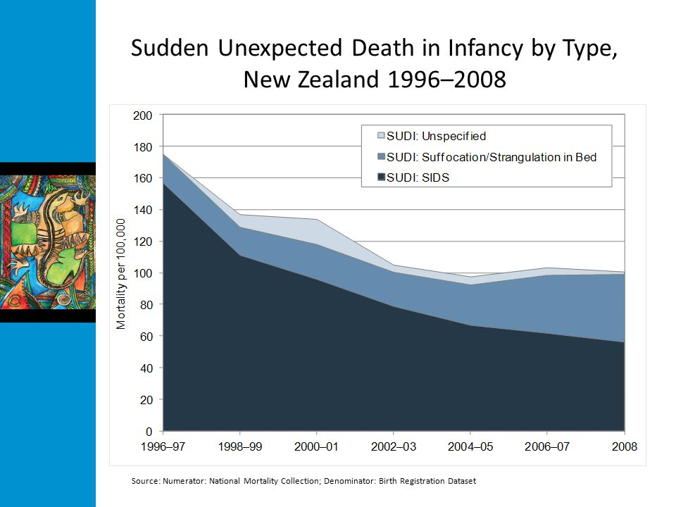 Sudden Unexpected Death in Infancy by Type, New Zealand 1996–2008 Source: Numerator: National Mortality Collection; Denominator: Birth Registration Dataset