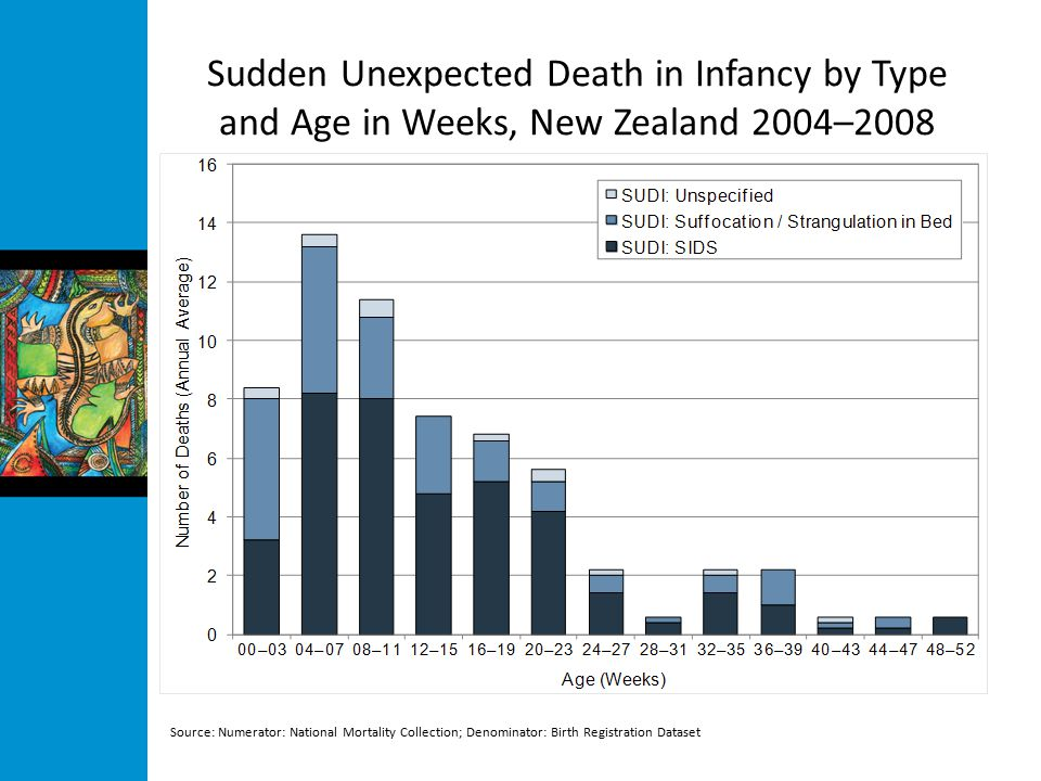 Sudden Unexpected Death in Infancy by Type and Age in Weeks, New Zealand 2004–2008 Source: Numerator: National Mortality Collection; Denominator: Birth Registration Dataset