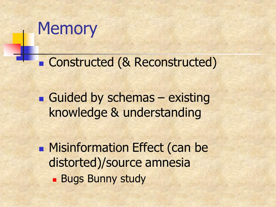 Memory Constructed (& Reconstructed) Guided by schemas – existing knowledge & understanding Misinformation Effect (can be distorted)/source amnesia Bugs Bunny study
