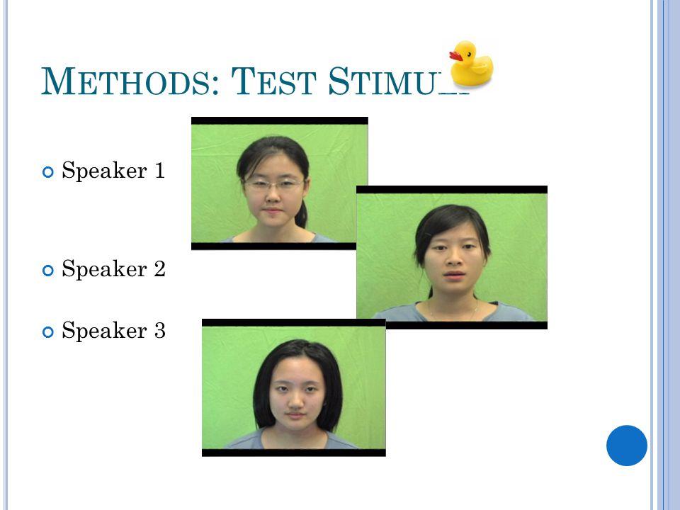 M ETHODS : T EST S TIMULI Speaker 1 Speaker 2 Speaker 3