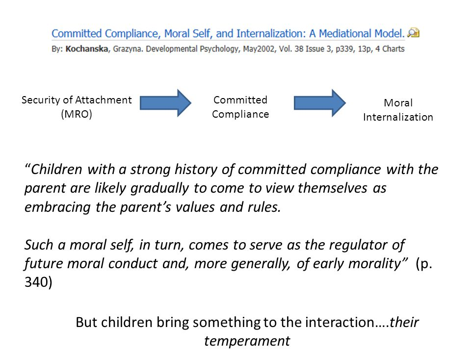 "Security of Attachment (MRO) Committed Compliance Moral Internalization ""Children with a strong history of committed compliance with the parent are li"