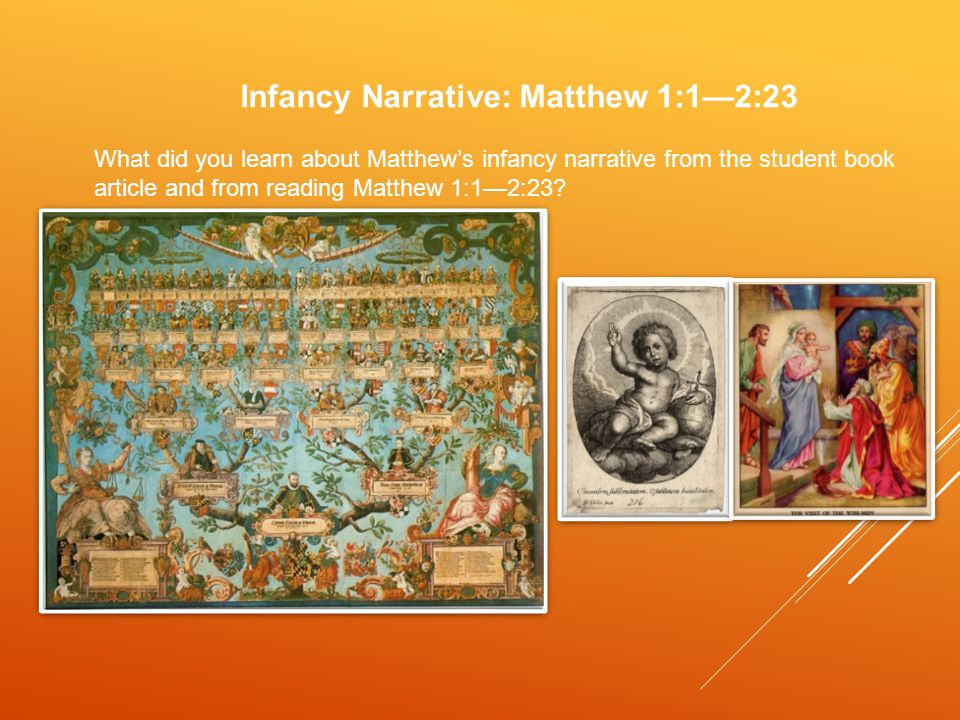 Infancy Narrative: Matthew 1:1—2:23 What did you learn about Matthew's infancy narrative from the student book article and from reading Matthew 1:1—2:23