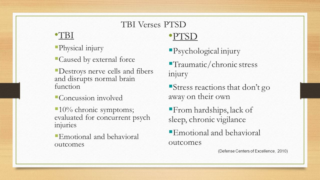 TBI Verses PTSD TBI  Physical injury  Caused by external force  Destroys nerve cells and fibers and disrupts normal brain function  Concussion involved  10% chronic symptoms; evaluated for concurrent psych injuries  Emotional and behavioral outcomes PTSD  Psychological injury  Traumatic/chronic stress injury  Stress reactions that don't go away on their own  From hardships, lack of sleep, chronic vigilance  Emotional and behavioral outcomes (Defense Centers of Excellence, 2010)