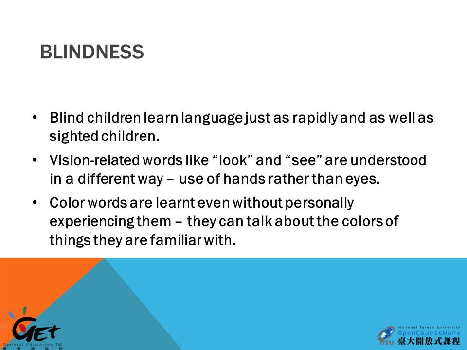 BLINDNESS Blind children learn language just as rapidly and as well as sighted children.