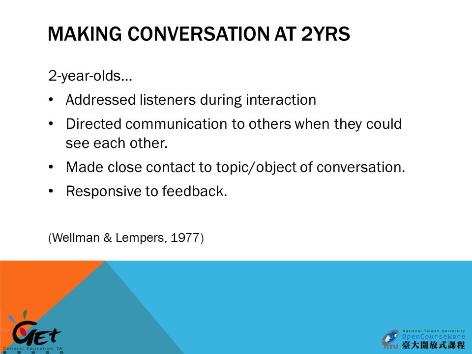 MAKING CONVERSATION AT 2YRS 2-year-olds… Addressed listeners during interaction Directed communication to others when they could see each other.