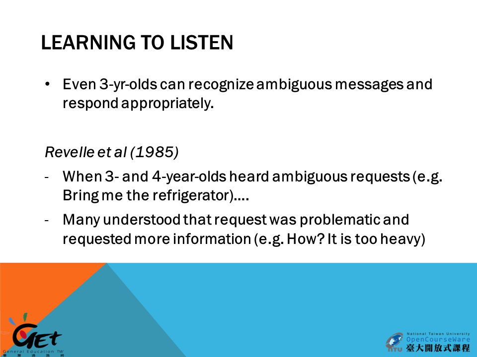 LEARNING TO LISTEN Even 3-yr-olds can recognize ambiguous messages and respond appropriately.