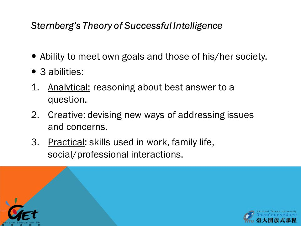Sternberg's Theory of Successful Intelligence Ability to meet own goals and those of his/her society.