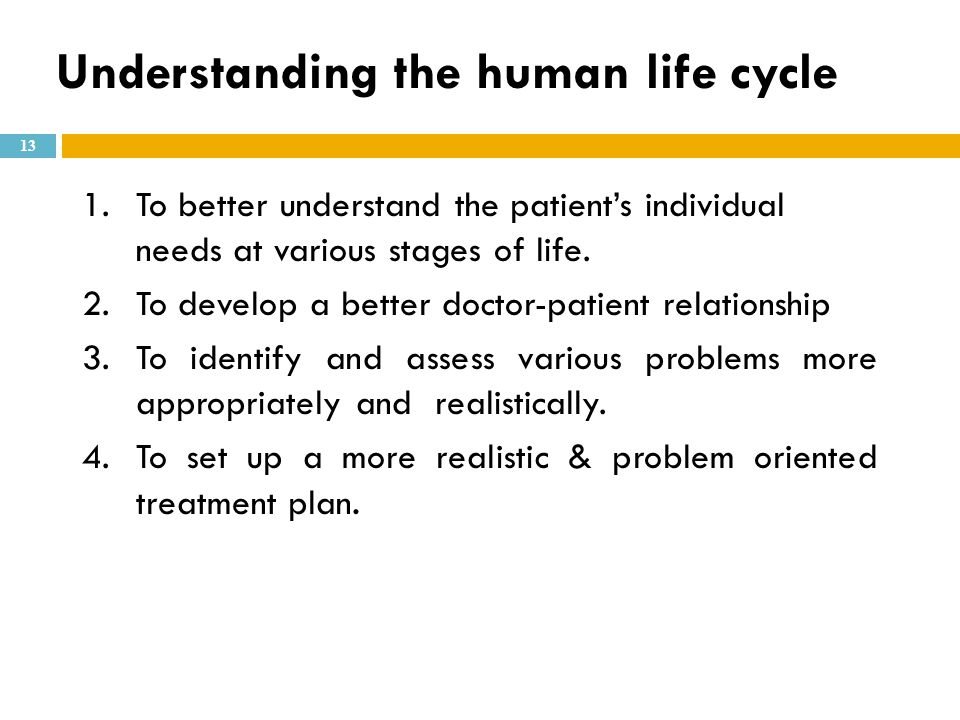 Understanding the human life cycle 1.To better understand the patient's individual needs at various stages of life. 2.To develop a better doctor-patie