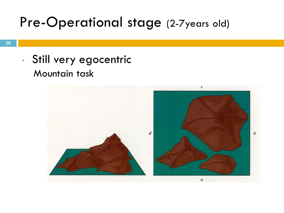 Pre-Operational stage (2-7years old) Still very egocentric Mountain task 28
