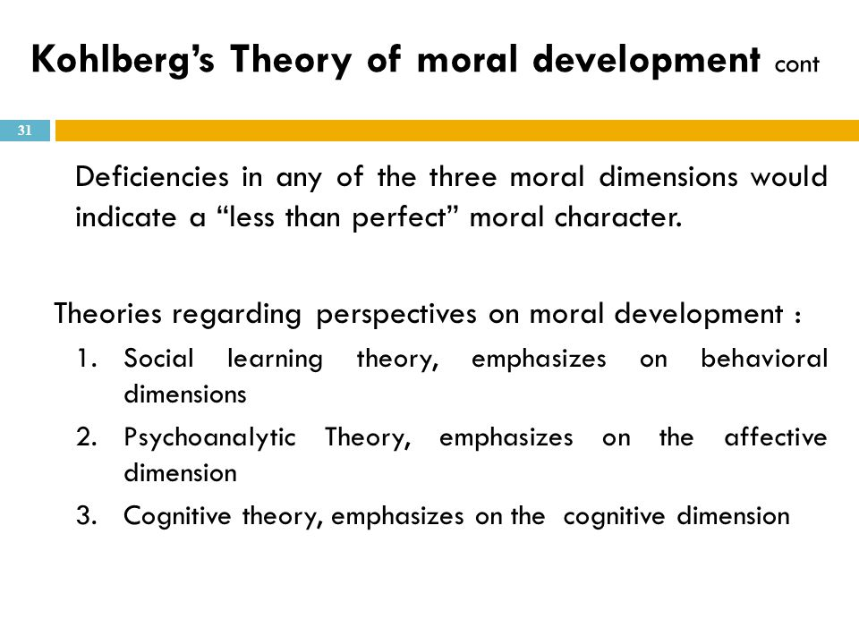 """Deficiencies in any of the three moral dimensions would indicate a """"less than perfect"""" moral character. Theories regarding perspectives on moral devel"""