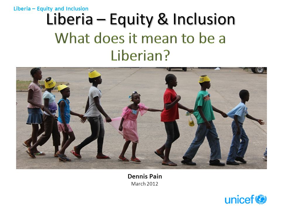 Liberia – Equity and Inclusion 100 90 80 70 60 50 40 30 20 10 Category Maternal Deliveries for 5 years up to 2007 ( LDHS 2007 Table 9.5) Liberia (37) Urban (63) Rural (26) Monrovia (71) S.