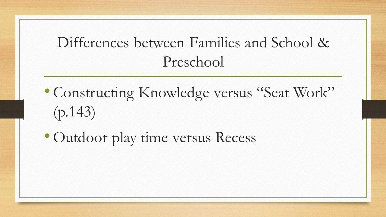 Differences between Families and School & Preschool Constructing Knowledge versus Seat Work (p.143) Outdoor play time versus Recess