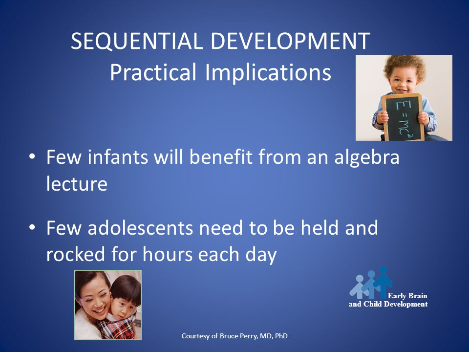 Courtesy of Bruce Perry, MD, PhD SEQUENTIAL DEVELOPMENT Practical Implications Few infants will benefit from an algebra lecture Few adolescents need to be held and rocked for hours each day Early Brain and Child Development