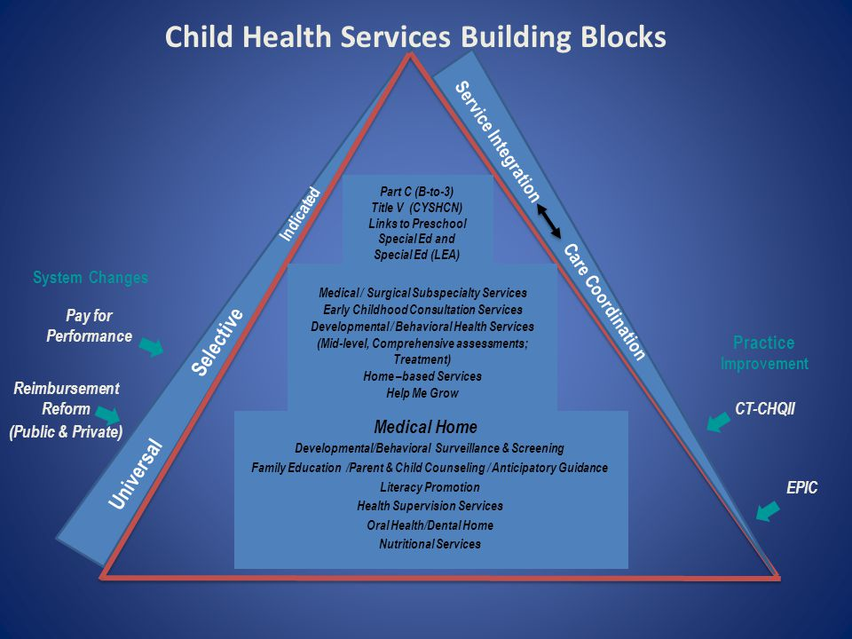 Child Health Services Building Blocks Universal Selective Indicated Service Integration Care Coordination Medical Home Part C (B-to-3) Title V (CYSHCN) Links to Preschool Special Ed and Special Ed (LEA) Developmental/Behavioral Surveillance & Screening Family Education /Parent & Child Counseling / Anticipatory Guidance Literacy Promotion Health Supervision Services Oral Health/Dental Home Nutritional Services Medical / Surgical Subspecialty Services Early Childhood Consultation Services Developmental / Behavioral Health Services (Mid-level, Comprehensive assessments; Treatment) Home –based Services Help Me Grow Practice Improvement System Changes Pay for Performance Reimbursement Reform (Public & Private) CT-CHQII EPIC