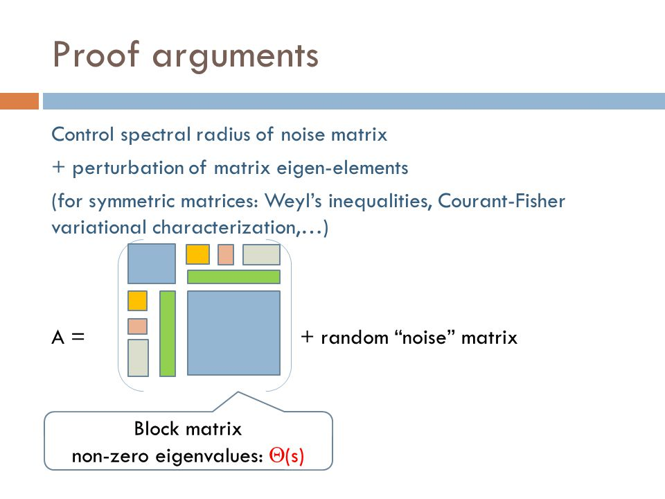 Proof arguments Control spectral radius of noise matrix + perturbation of matrix eigen-elements (for symmetric matrices: Weyl's inequalities, Courant-Fisher variational characterization,…) A = + random noise matrix Block matrix non-zero eigenvalues:  (s)